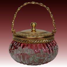 Victorian art glass rubina coralene biscuit cracker jar