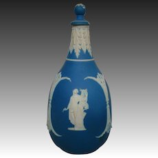 Wedgwood blue jasperware covered bottle unusual