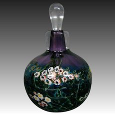 Art glass paperweight perfume bottle millefiori aventurine artist signed