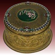 Antique French enamel round jewelry dresser box irises