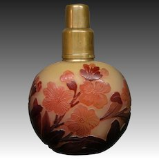 Galle French cameo glass red floral perfume burner lamp signed