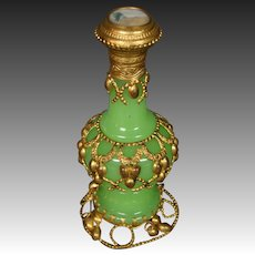 Antique French green opaline glass perfume bottle scenic medallion Grand Tour