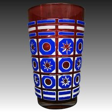 Bohemian triple overlay art glass vase stars and bullseyes