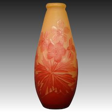 Galle French cameo art glass red floral vase signed