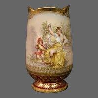 German hand painted cupid woman vase beehive mark artist signed