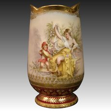German hand painted cupid woman vase beehive mark artist signed