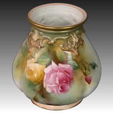 Royal Worcester hand painted roses vase