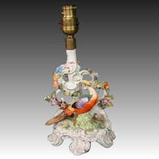 Dresden Saxony birds and flowers ornate rococo porcelain table lamp