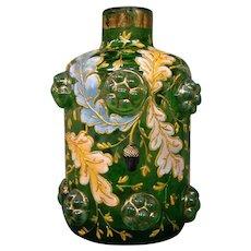 Moser art glass gilt enameled leaves perfume bottle applied acorns and prunts