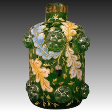 Moser art glass gilt enameled leaves perfume bottle applied acorns and prunts