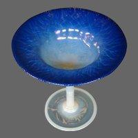 Tiffany pastel amethyst grape opalescent heart reactive Favrile art glass compote laurel leaf
