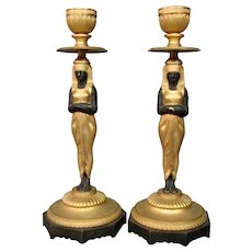 Austrian bronze orientalist pair figural antique candlesticks