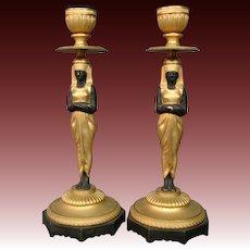 Austrian bronze orientalist pair figural antique candlesticks