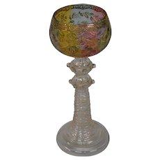 Moser art glass rainbow tall enamel gilt goblet applied prunts