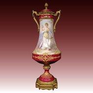 Sevres porcelain covered urn vase woman gathering roses artist signed bronze L Henry mounts