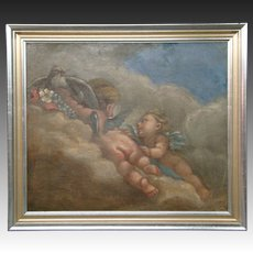 Antique pair of French cupid angel oil paintings on canvas
