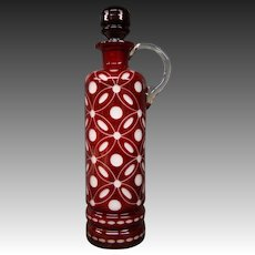 Bohemian ruby cut overlay tall decanter ewer