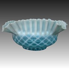 Blue opalescent diamond quilted pattern brides bowl