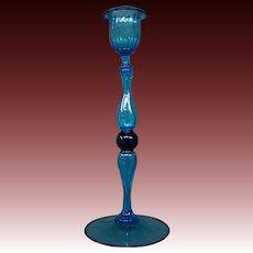 Venetian hand blown blue art glass candlestick
