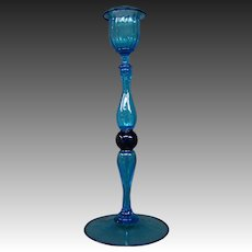 Venetian hand blown blue art glass candlestick