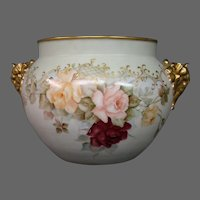 Jean Pouyat Limoges hand painted roses elephant handled jardiniere