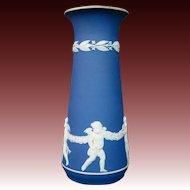 Wedgwood blue jasperware dancing cupids classic tall vase