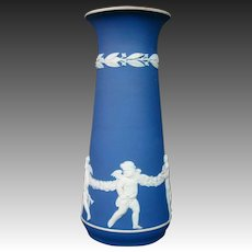 Wedgwood blue jasperware dancing cupids classic tall vase