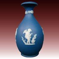 Wedgwood blue jasperware cupids four seasons vase