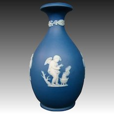 Wedgwood blue jasperware cupids four seasons vase