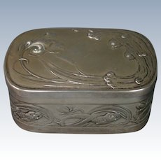 French art nouveau silverplate fish in waves covered box