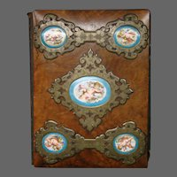 Sevres French porcelain photo album cherub cupid medallions