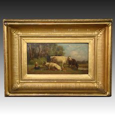 Antique oil painting woman and cows cattle in field original frame