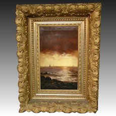 Antique oil painting sailboats at sunset original gilded ornate frame
