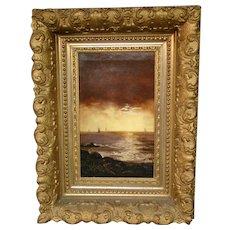 Antique oil painting sailboats at sunset original gilded ornate frame