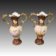 Vienna Austria beehive pair hand painted vases women cupids cherubs