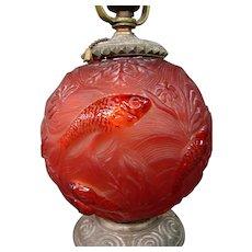 Czech Czechoslovakia red formose vase table lamp original deco fittings