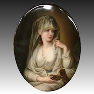 German hand painted porcelain plaque woman in veil with genie lamp