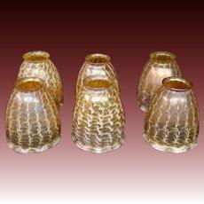 Quezal signed set six art glass gold iridescent snakeskin lamp shades
