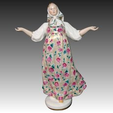 Porcelain large figurine of dancing woman red roses dress blue mark