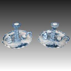 Delft blue pair candlesticks chambersticks windmills sailboats individual snuffers