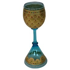 Moser art glass enameled beaded art glass goblet toasting vessel