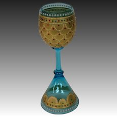 Moser art glass enameled beaded art glass goblet toasting vessel