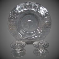 Steuben crystal engraved mushroom form center bowl and candlesticks