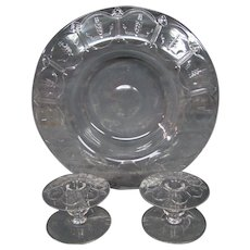 Steuben crystal engraved mushroom form center bowl and candlesticks