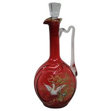 Cranberry enameled ducks on pond art glass tall decanter ewer
