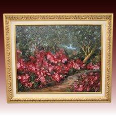 Impressionist flower garden landscape oil painting