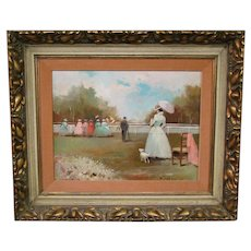 Bertini horse track racing impressionist oil painting artist signed