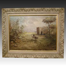Impressionist oil painting countryside scene