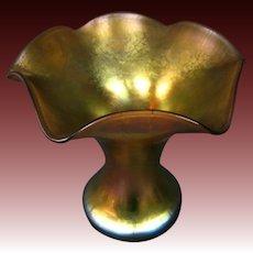 Steuben gold aurene form 723 ruffled art glass vase outstanding iridescence