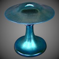 Steuben blue aurene calcite mushroom form art glass candlestick STRIKING